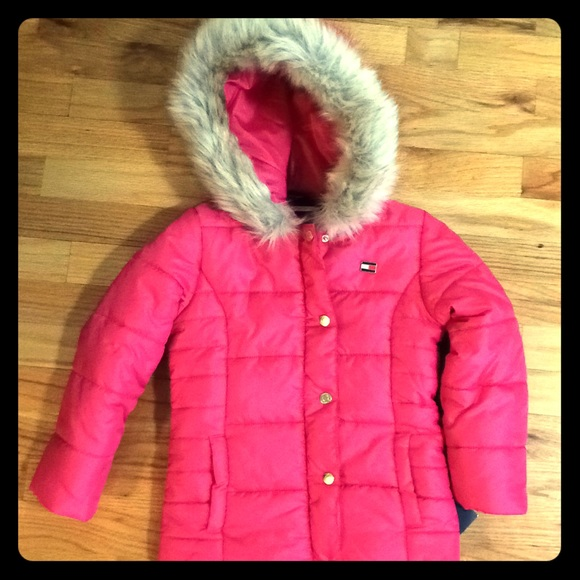 tommy hilfiger jacken winter in pink mit fell